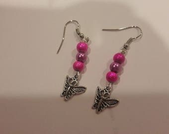 Butterfly with pink and purple beads