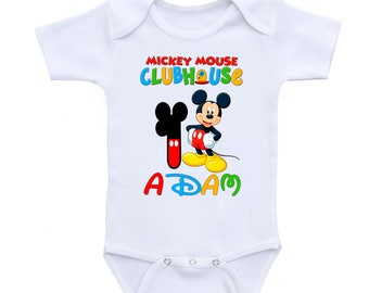 Mickey Mouse Club house 1st Birthday Onesie  inspired  Onesie  Personalized, Mickey Personalized Onesie,Girls Minnie Mouse Birthday Shirt,