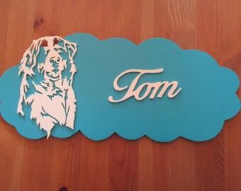 blue door with customizable dog