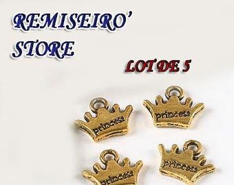 Set of 5 charm pendant Crown Princess Golden 12.9 mm