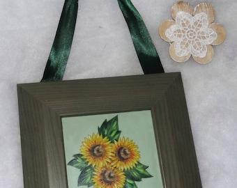 frame 3 sunflowers flowers