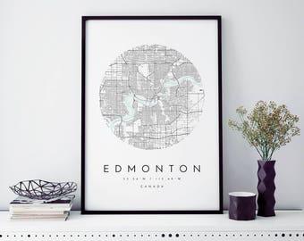 Edmonton Map, Edmonton Map, Minimalist Map, Edmonton Print, Edmonton Poster, Edmonton Art, Modern Map Print, Edmonton Map Art, Edmonton