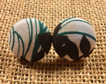 Don't Leaf Me - Fabric Button Earrings