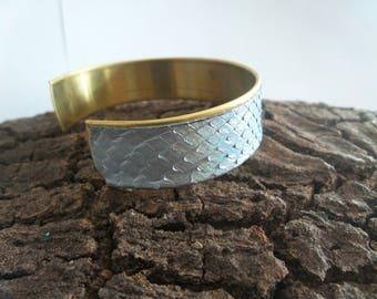 python leather gold metal Cuff Bracelet