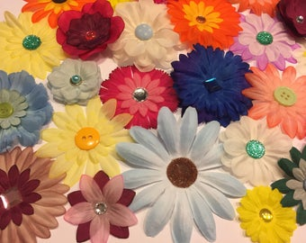 Mix Grab Bag Fabric Flowers 10, 15, 20 Flower Embellishments, Scrapbooking, Card Making,