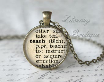 Teach, Dictionary Definition Quote Necklace or Keyring, Keychain.