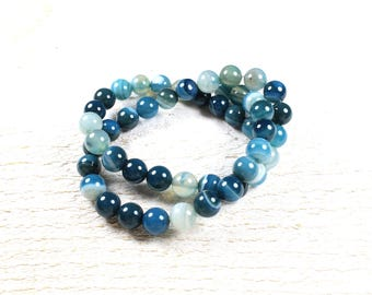 natural agate beads 10 shades of blue / grey +/-8mm