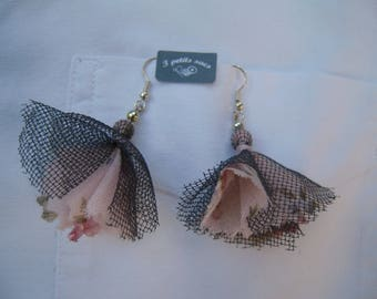 pierced earrings, fabric cotton and tulle Pompom