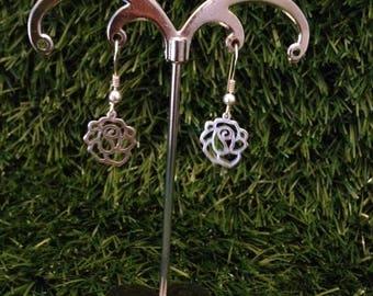 925 sterling silver filigree flower earrings