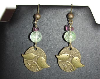 Birds and fluorite earrings