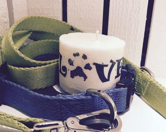 Love Paw Print Pet Memory Candle
