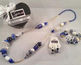 Long Necklace Jewellery Set Blue, White, Gold