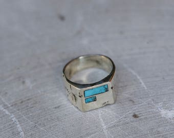 Custom Destroyed Signet Ring with Turquoise Inlay