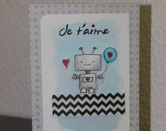 "robot ""I love you"" romantic, hand made invitation card"