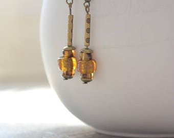 Earrings bronze and topaz beads
