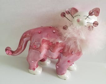 Pink and White Ceramic Cat