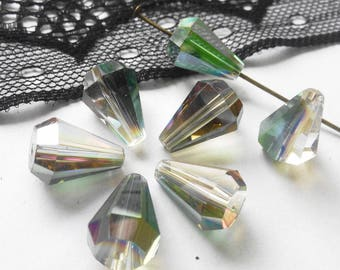 1 lot of 2 stunning drops faceted (PC4) Swarovski crystal transparent AB light 14X10mm