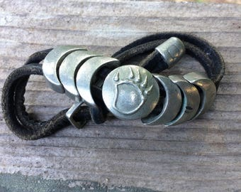 Bear Claw pewter and leather bracelet