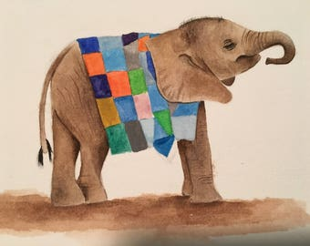 Orphan Baby Elephants (Nursery/Watercolor)