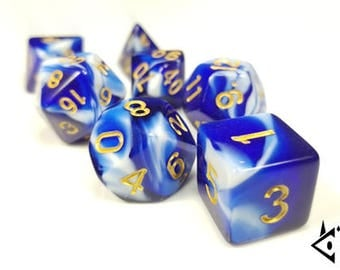 """DnD Dice Set Blue White Gold """"Djinni's Wish"""" Polyhedral dice, D&D dice, Dungeons and Dragons, Pathfinder, Critical Role Roll D20 RPG"""