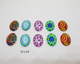 10 oval cabochons 13 x 18 glass on base set 2