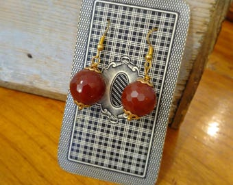 HANDMADE EARRINGS with FACETED amber gold color balls