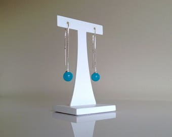 Silver chain earrings 8cm + sky blue glass beads. Murano glass Lampwork beads by