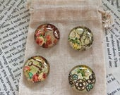 Pretty Flower Magnets Made From Glass Cabochon. Use on Refrigerators or Magnetic Noticeboards. Flowers, Cogs and Keys. Steampunk Gift