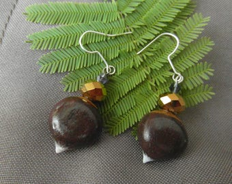 Chestnuts made earrings made of cold porcelain