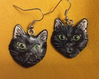 Cold porcelain earrings, Black Cat Head >