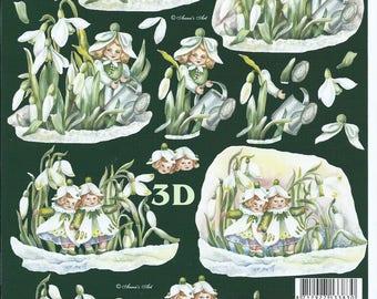 paper cut card 3D fairy in flowers 2