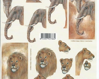 leaf cutting cards 3D elephants and lions