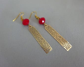 Earrings vintage gold charm, Perle Rouge.