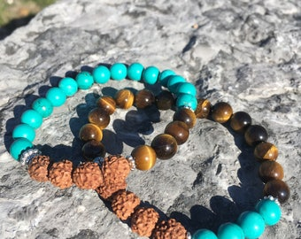 Turquoise and Tiger's Eye Stacked Bracelets