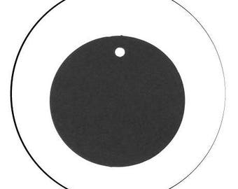 Set of 10 round, black, 5 cm diameter, thickness 0.3 mm