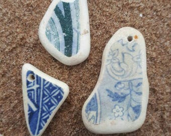 Sea worn drilled pottery pieces,smooth all over,Scottish beach finds,vintage pottery pendant.