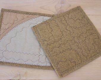 Set of 2 Pot Holders, Quilted Pot Holders, Hot Pads, Tan Pot Holders, Hostess Gift, Shower Gift