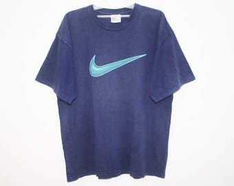 Vintage 90's Nike Big Swoosh Dark Blue Cotton T Shirt Size L