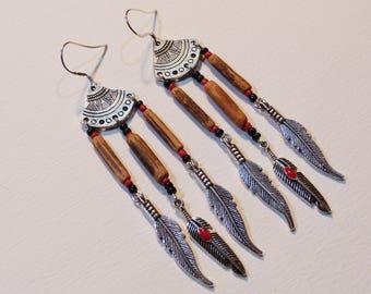 Ethnic earrings, silver feathers