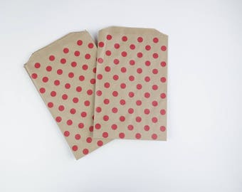 Printed 19 x 12.5 red polka dot kraft paper bags pouches 10 cm for gifts, jewelry, sweets, sweets