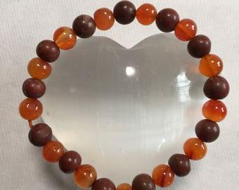 Red Jasper and Carnelian bracelet