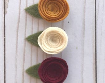 Fall collection felt flowers // Baby girl headbands // Mustard yellow // Cream // Maroon red // 3 pack // Nylon headband // Alligator clip