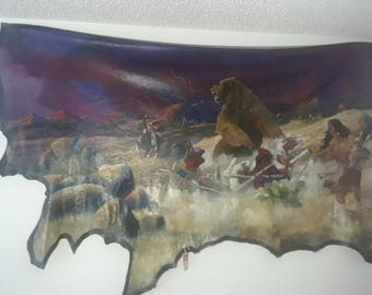 "Ray Hawkins Original Native American Cow Hide Tapestry ""Protection Scene"""