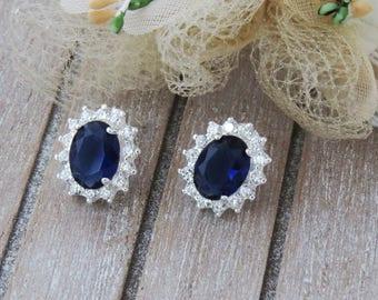 Blue Bridal Earrings, Sapphire Earrings, Dark Blue Earring, Bridesmaid Earrings, Blue Wedding Jewelry, Sapphire Bridal Stud Earrings