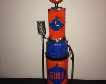 Recycled Metal Replica Gulf Gas Pump