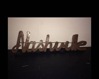 """Recycled Metal """"Nashville"""" Sign Word"""