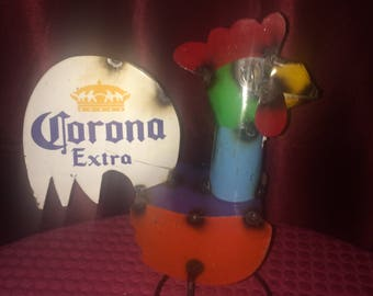 "Recycled Metal 12"" Corona Extra Tin Rooster"