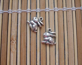 2 silver rabbit charms