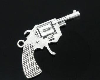 x 1 large silver gun charm