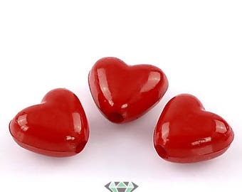 x 20 beads 10mm x 11mm red heart